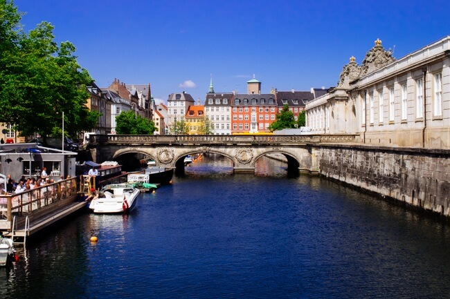 One of the canals and many bridges in Copenhagen