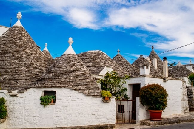 The Conical Roof of Italy's Stone Trulli Buildings