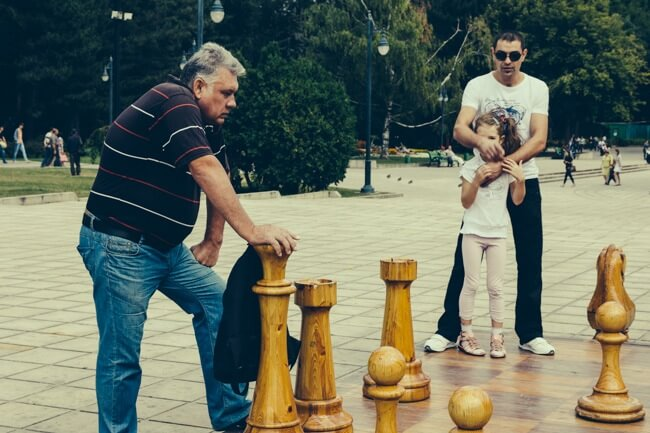 Playing chess in the streets.