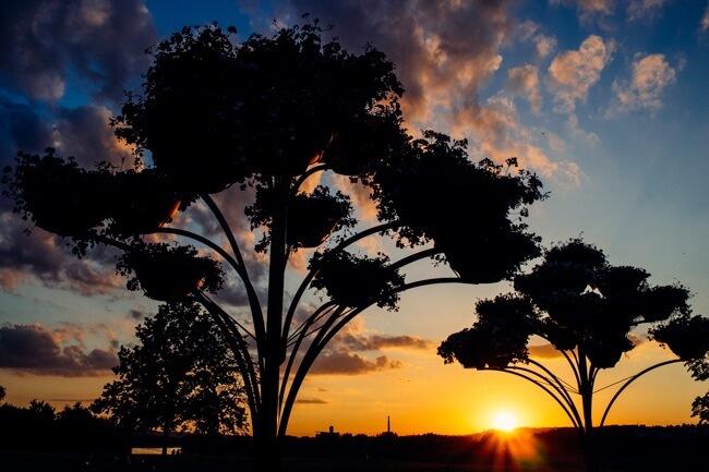 Sunset over Neris River