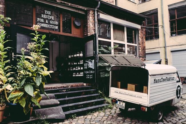 Cafe in a quiet Kreuzberg courtyard.