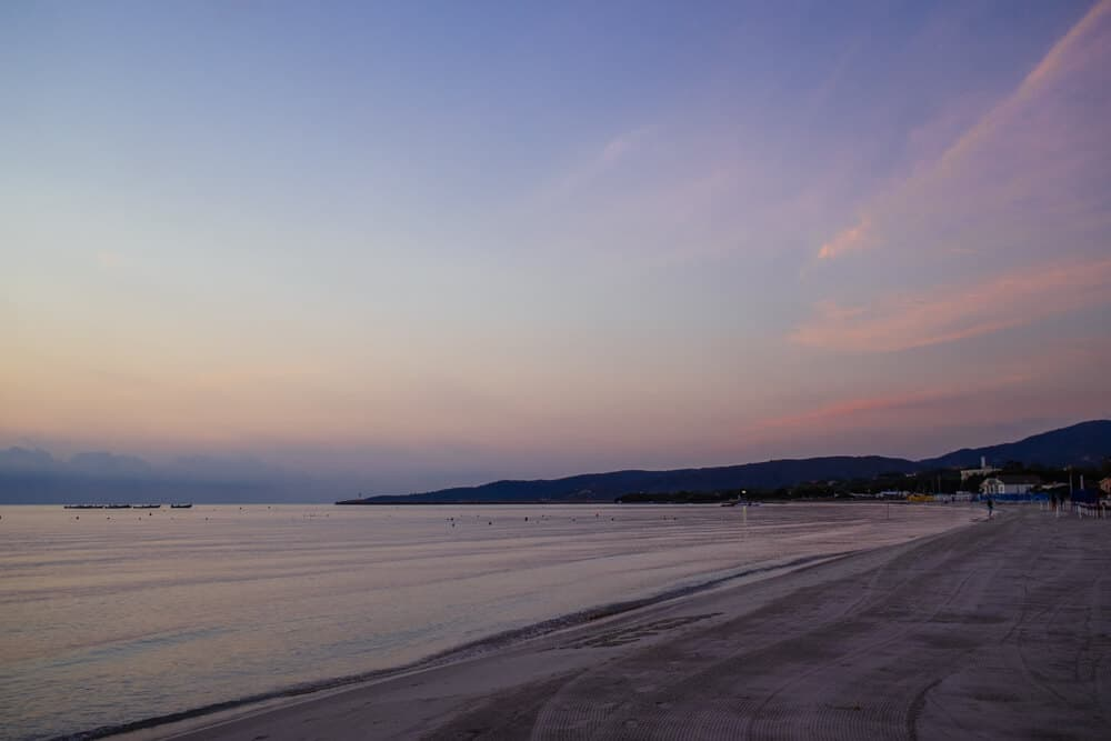 White Sand and Pink Sky in San Teodoro
