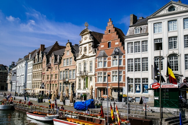 Flemish Style Houses Line the Canals in Ghent