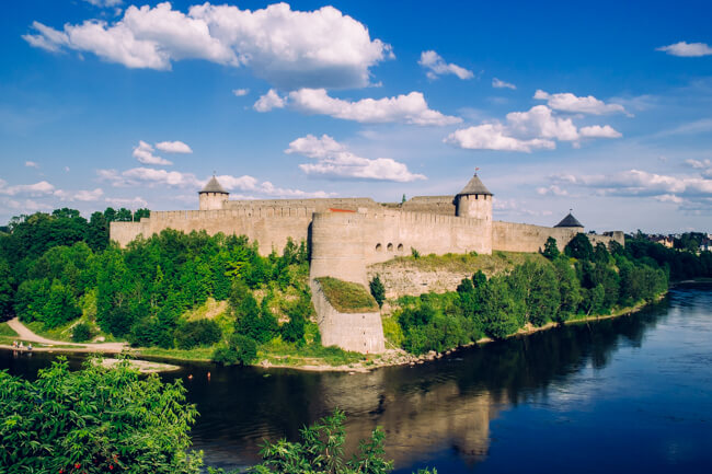 Ivangorod Fortress on the Russian Border