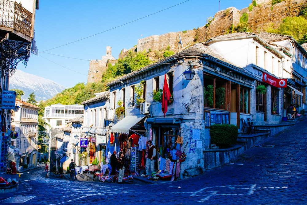 Gjirokastra Tourist Shops and Castle