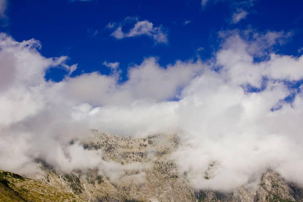 Foggy Llogara Pass in the Mountains