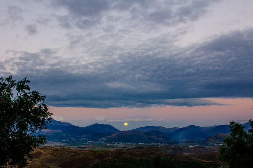 Moon Rise Above Albanian Villages
