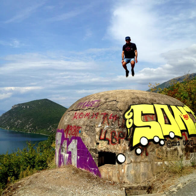 Graffiti Bunker on Lake Ohrid Macedonia