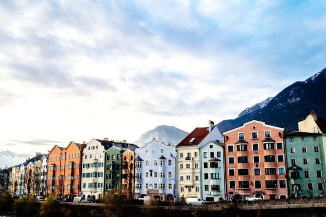 Pastel coloured houses along the River Inn in Innsbruck