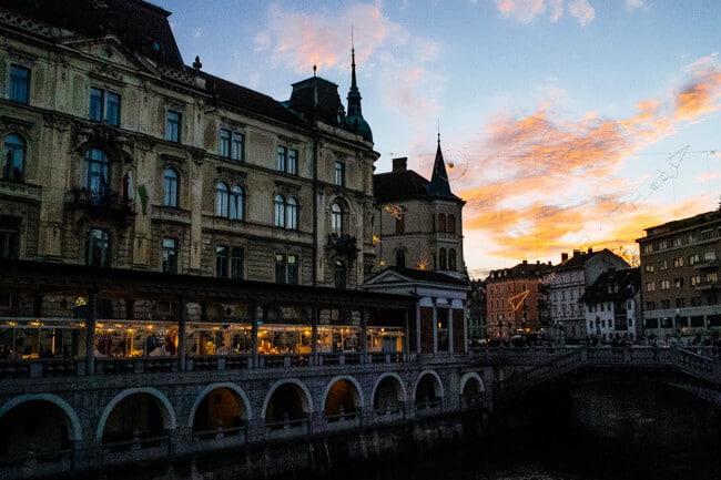 Ljubljana Bridge Sunset - 2014