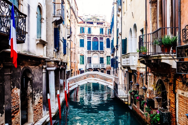 The colourful canals of Venice
