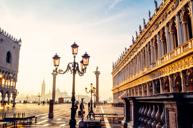 St Mark's Square in the morning sun, Venice, Italy