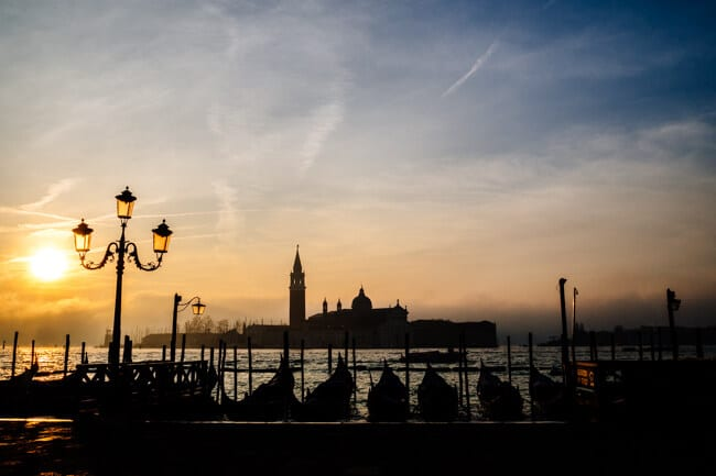 Sunrise in Venice from St Mark's Square