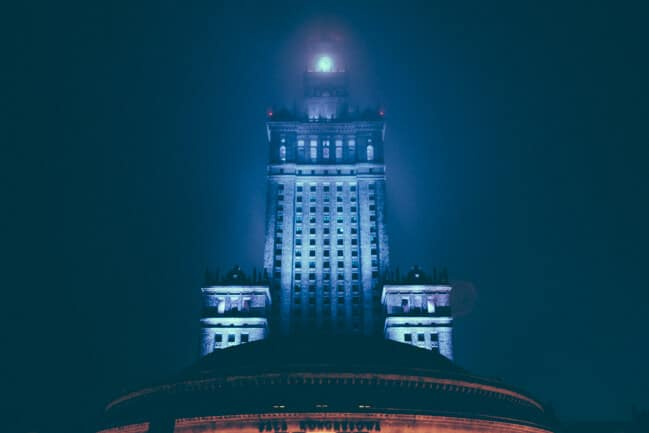 Warsaw Palace of Culture in the Fog