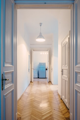 Wide hallway with lovely floorboards
