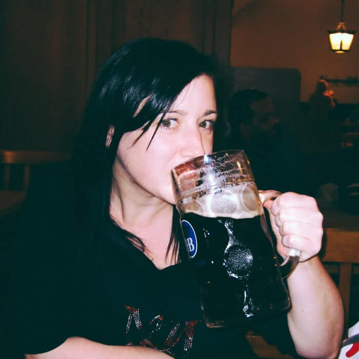 Pretending to drink beer in Munich