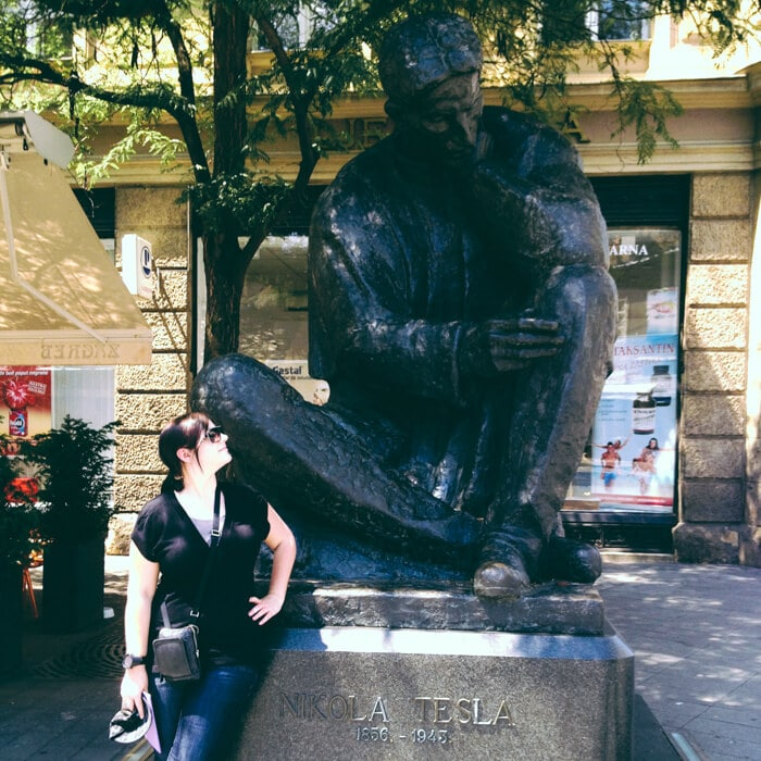 I love this photo of me and Mr Tesla in Zagreb