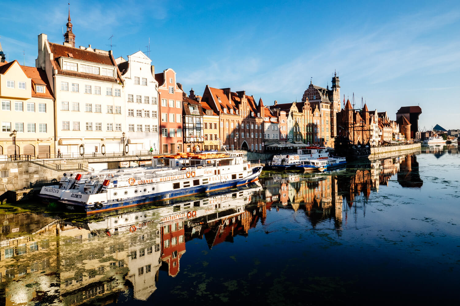 Gdansk, Poland. The riverfront area with gable rooftops and the medieval crane.