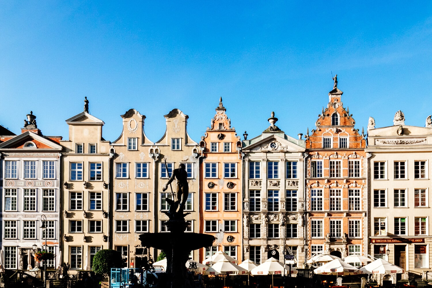 The triangular gable roof tops of Gdansk. A feature of the city.