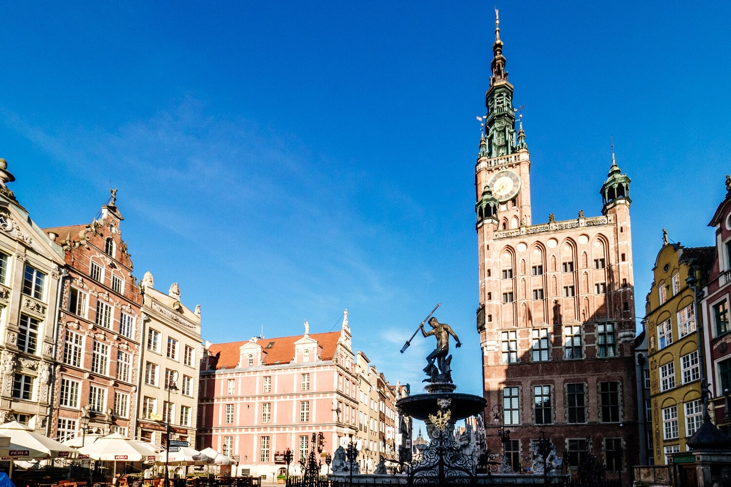 Gdansk Town Hall and Fountain of Neptune on Dlugi Targ or Long Market.