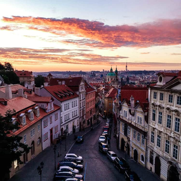 Sunrise from the Golden Star Hotel Prague