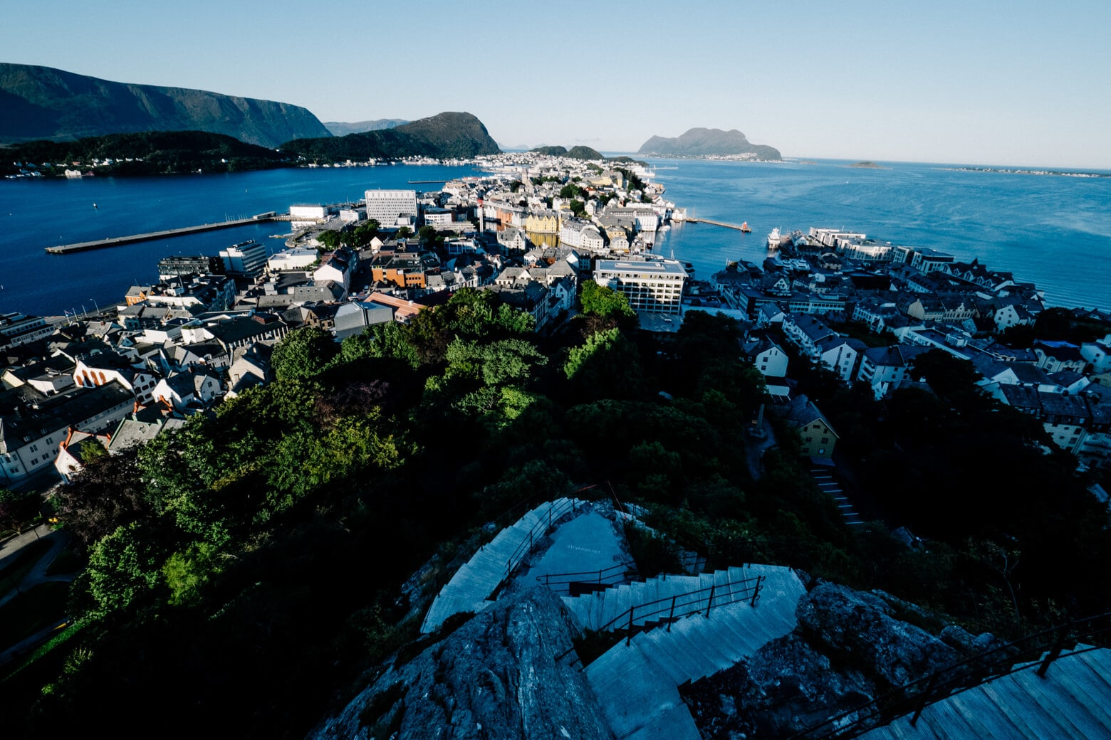 Steps from Aksla Lookout Down to Alesund