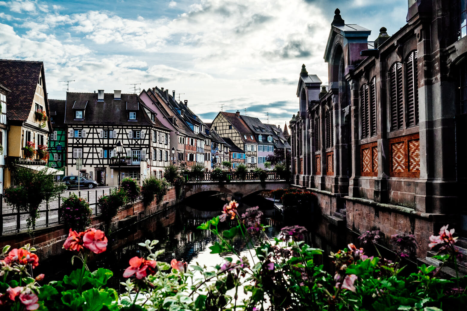 Flower Lined Canal in Colmar Alsace